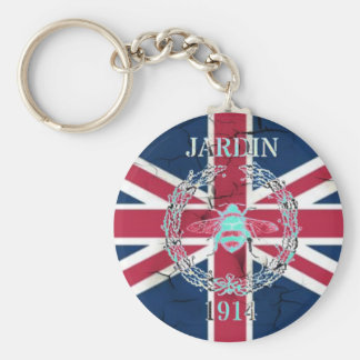 Rustic Union Jack Flag queen jubilee french bee Keychain