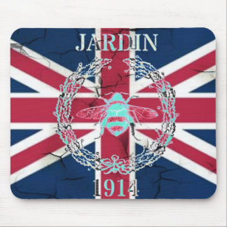 Rustic Union Jack Flag queen jubilee french bee Mouse Pad