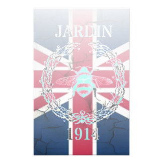 Rustic Union Jack Flag queen jubilee french bee Stationery