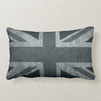Rustic Union Jack in Greys Throw Pillows