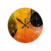 Rustic Urban Acoustic Classical Guitar Wall Clock