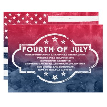 USA Themed Rustic USA flag 4th of July red blue watercolor Card