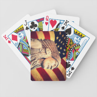 Rustic USA flag patriotic Native American Bicycle Playing Cards