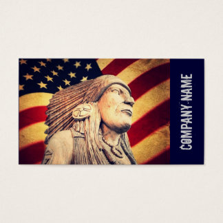 Rustic USA flag patriotic Native American Business Card