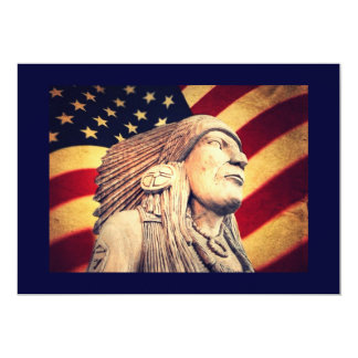 Rustic USA flag patriotic Native American Card
