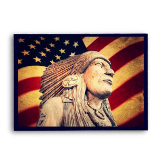 Rustic USA flag patriotic Native American Envelope