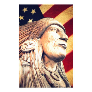 rustic USA flag patriotic Native American Stationery Paper