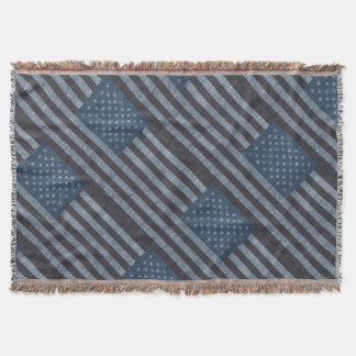 Rustic USA flag themed collage Throw Blanket