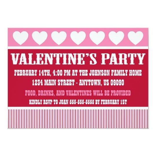 Rustic Valentine's Day Party Invitation (Dark Red)