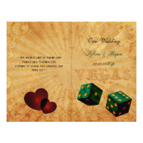 Rustic Vegas Emerald Green folded Wedding program
