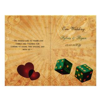 Rustic Vegas Emerald Green folded Wedding program Flyer Design