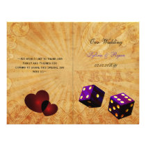 Rustic Vegas Emerald purple folded Wedding program