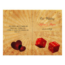 Rustic Vegas red folded Wedding program