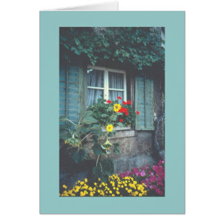 RUSTIC VINE-COVERED COTTAGE WITH FLOWERS CARD