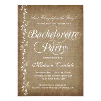 Rustic Vines Bachelorette Party Invitations