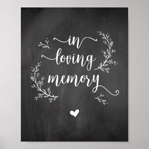 Rustic Vines Chalkboard In loving memory memorial Poster