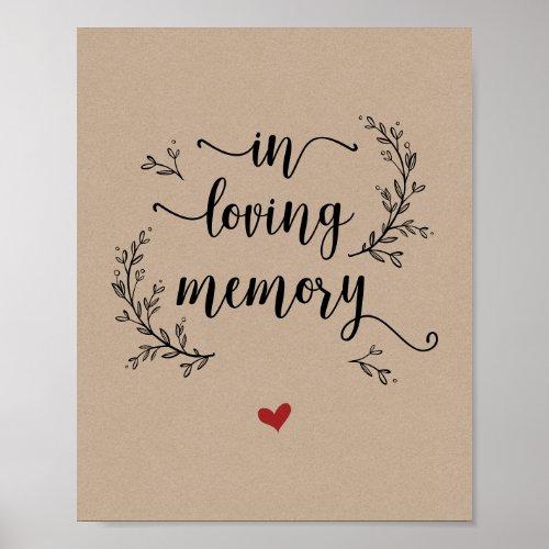 Rustic Vines Kraft In loving memory memorial Poster