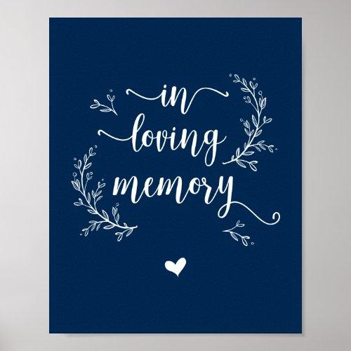 Rustic Vines Navy Blue In loving memory memorial Poster