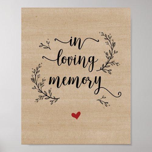 Rustic Vines Wood In loving memory memorial Poster