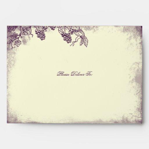 rustic vineyard wedding a7 envelope purple zazzle