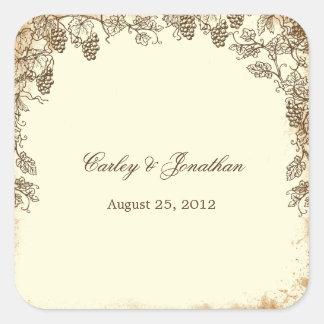 Rustic Vineyard Wedding Favor Sticker - Brown