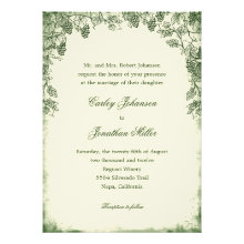 Rustic Vineyard Wedding Invitation - Green