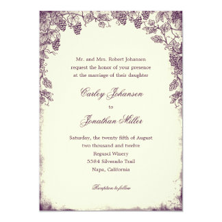 Rustic Vineyard Wedding Invitation Purple