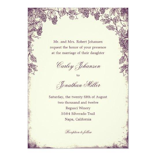Rustic Vineyard Wedding Invitation - Purple