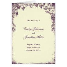 Rustic Vineyard Wedding Program Card - Purple