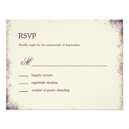 Rustic Vineyard Wedding RSVP Card - Purple Announcement