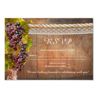 Rustic Vineyard Wine Themed Wedding RSVP Card
