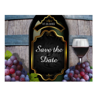 Rustic Vineyard Winery Wedding Save the Date Postcard