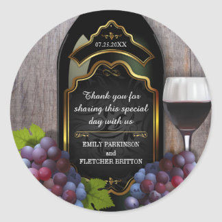 Rustic Vineyard Winery Wedding Thank You Favor Classic Round Sticker