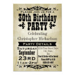 "Rustic Vintage 30th Birthday Party Invitation 5"" X 7"" Invitation Card"
