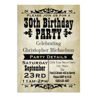 Rustic Vintage 30th Birthday Party Invitation