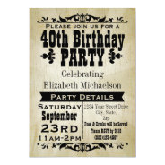 Rustic Vintage 40th Birthday Party Invitation at Zazzle