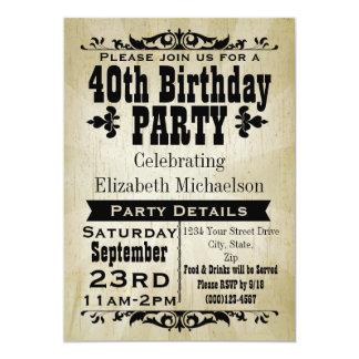 "Rustic Vintage 40th Birthday Party Invitation 5"" X 7"" Invitation Card"