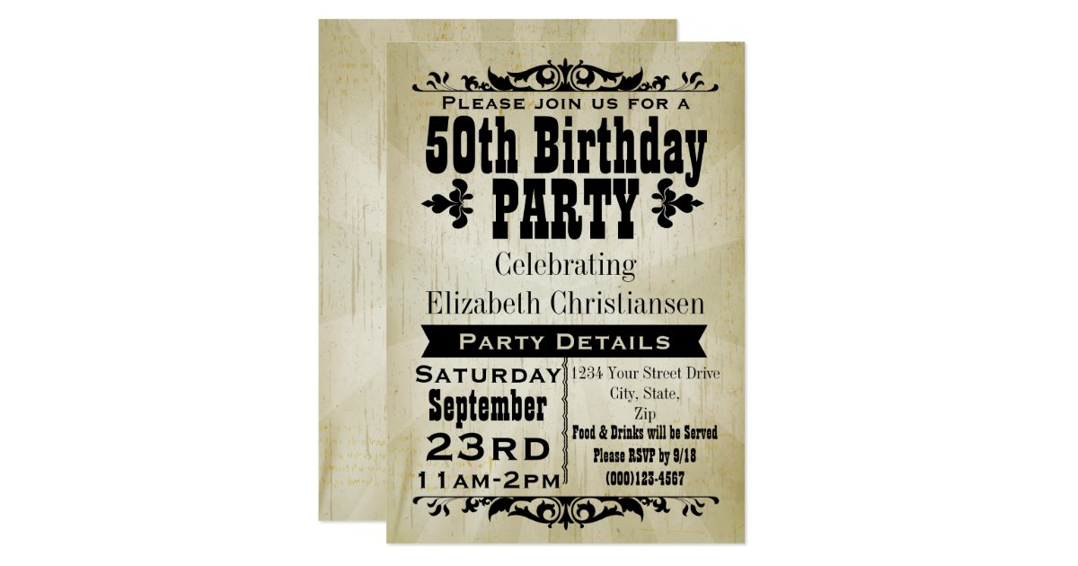 Vintage 50th Birthday Invitations Quotes