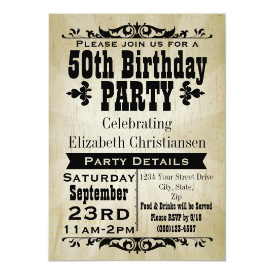 Rustic vintage 50th birthday party invitation zazzle rustic vintage 50th birthday party invitation filmwisefo