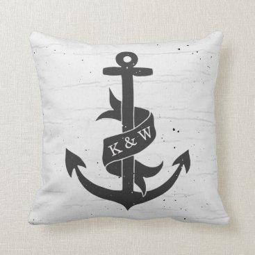 Beach Themed Rustic Vintage Anchor Monogram Pillow