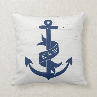 Rustic Vintage Anchor Monogram Pillow / Navy
