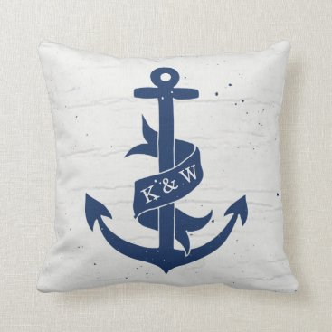 Beach Themed Rustic Vintage Anchor Monogram Pillow / Navy