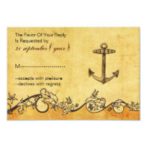 rustic vintage,anchor nautica wedding rsvp 3.5 x 5 card