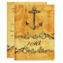 rustic, vintage ,anchor nautical  invites