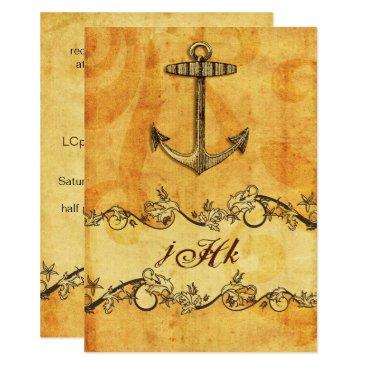 rustic, vintage ,anchor nautical  invites