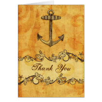 rustic, vintage ,anchor nautical thank you card