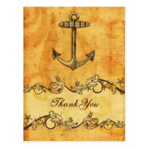 rustic, vintage ,anchor nautical thank you postcard