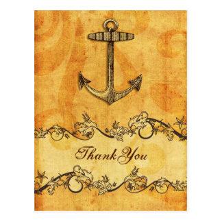 rustic, vintage ,anchor nautical thank you postcard