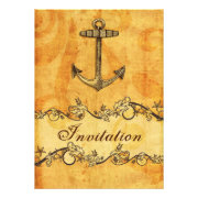 rustic, vintage,anchor nautical wedding invites by mgdezigns