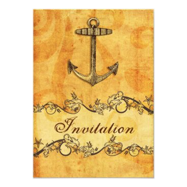 rustic, vintage ,anchor nautical wedding invites